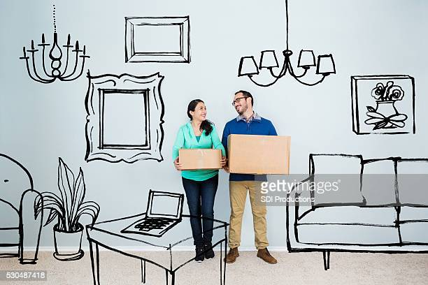 couple in their dream home - illustration stock pictures, royalty-free photos & images