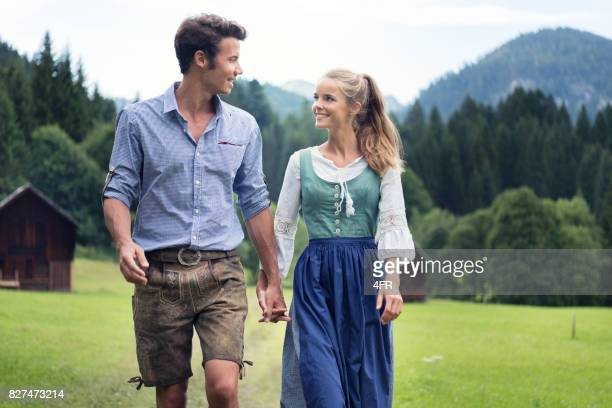 Couple in traditional Lederhosen and Dirndl Tracht, Austria