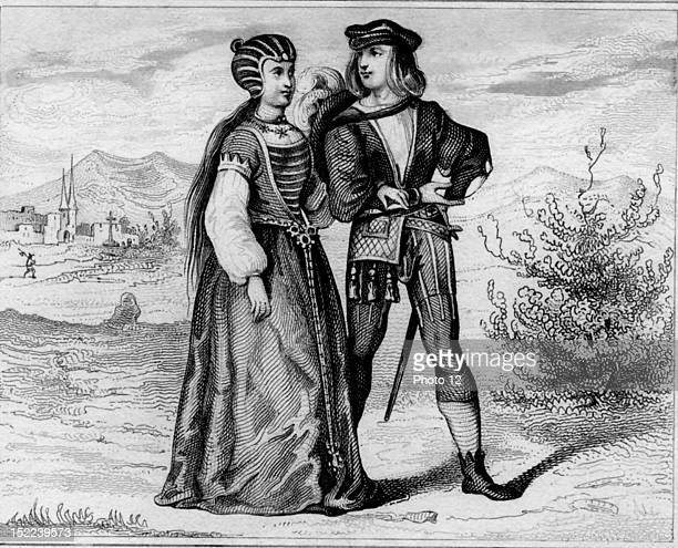 Couple in typical costumes under the reign of Henry VII of England 16th century Engraving