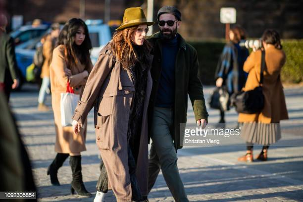 A couple is seen during the 95th Pitti Uomo at Fortezza Da Basso on January 10 2019 in Florence Italy