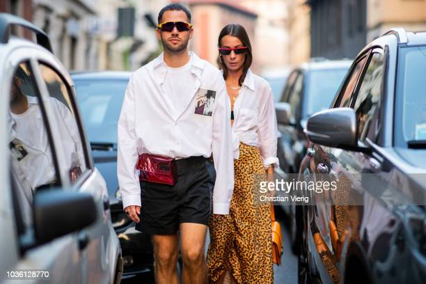 A couple is seen outside No 21 during Milan Fashion Week Spring/Summer 2019 on September 19 2018 in Milan Italy
