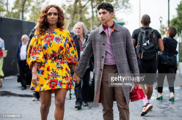 Couple Janet Mock and Angel Bismark Curiel seen outside Carolina Herrera during New York Fashion Week September 2019 on September 09 2019 in New York...
