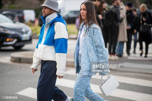 Couple JeanSebastian Rocques and Alice Barbier is seen outside Lacoste during Paris Fashion Week Womenswear Fall/Winter 2019/2020 on March 05 2019 in...