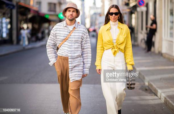 Couple JeanSebastien Rocques and Alice Barbier seen outside Jacquemus during Paris Fashion Week Womenswear Spring/Summer 2019 on September 24 2018 in...