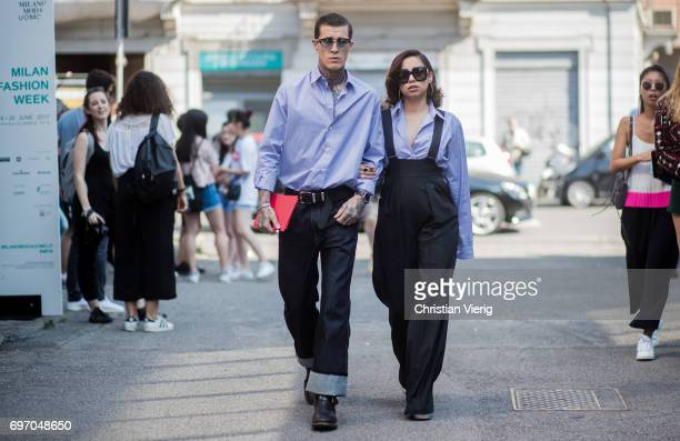 Couple Jimmy Q and Jet Luna is seen outside Diesel during Milan Men's Fashion Week Spring/Summer 2018 on June 17 2017 in Milan Italy