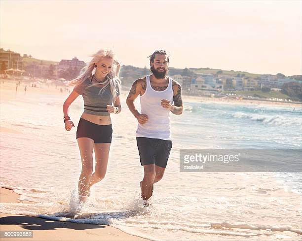 Couple Jogging at the beach