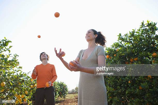 couple juggling oranges - grove stock-fotos und bilder