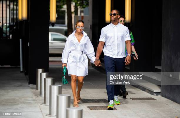 Couple Karrueche Tran and Victor Cruz seen outside Neil Barrett during the Milan Men's Fashion Week Spring/Summer 2020 on June 15, 2019 in Milan,...