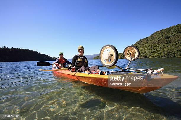 Couple kayaking on Lake Tarawera, Rotorua