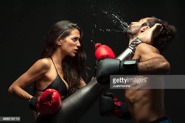 Couple kickboxing