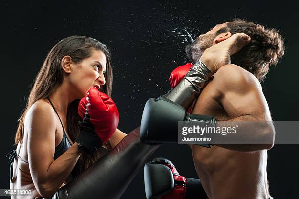 couple kickboxing - mixed boxing stock photos and pictures