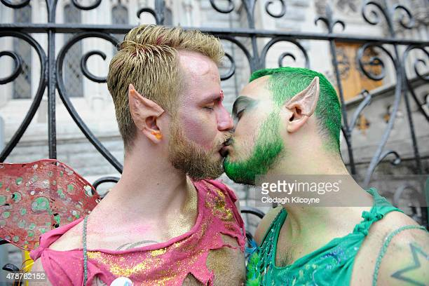 A couple kiss as they take part in the annual Gay Pride Parade on June 27 2015 in Dublin Ireland Gay marriage was declared legal across the US in a...