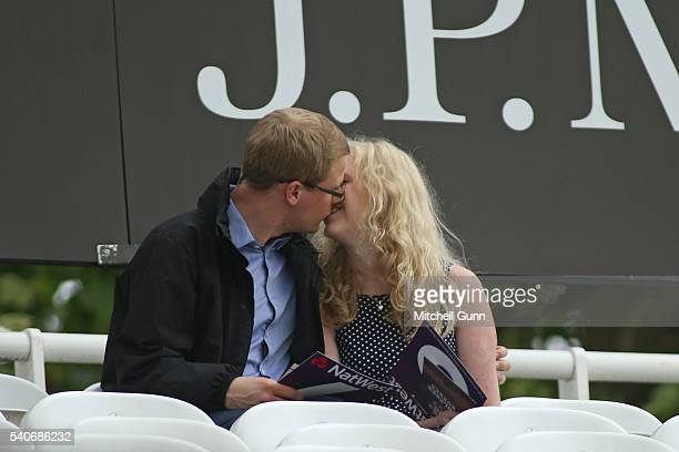 A couple kiss during the NatWest T20 Blast match between Middlesex and Sussex at Lords Cricket Ground on June 16 2016 in London United Kingdom