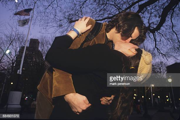 Couple Kiss in Washington Square Park