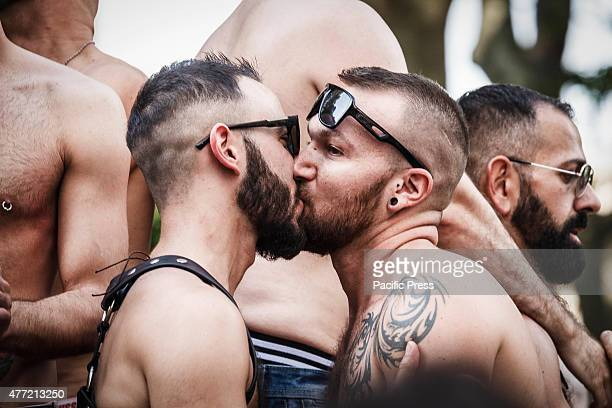 A couple kisses during the 21st annual Gay Pride Parade in Rome Tens of thousands of members of Italian LGBTQI communities and supporters of gay...