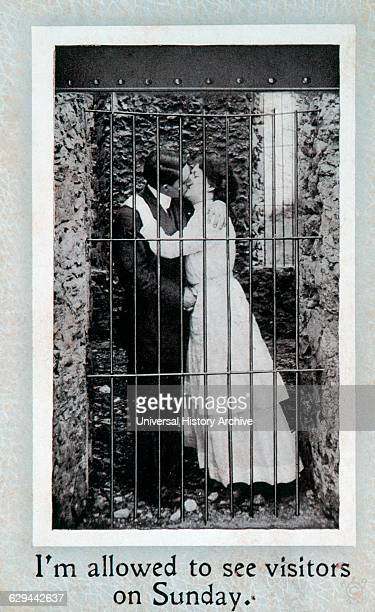 Couple Kissing Behind Bars I'm allowed to See Visitors on Sunday Postcard circa 1910