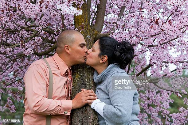 a couple kissing by a cherry blossom tree - cherry kiss photos et images de collection
