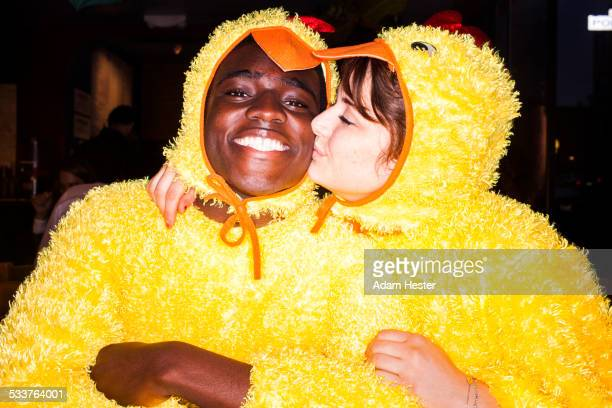 couple kissing in chicken costumes - funny rooster stock photos and pictures