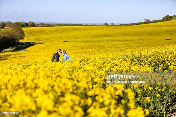 Couple kissing in rapeseed field