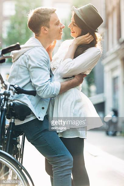 Couple kissing in the Street