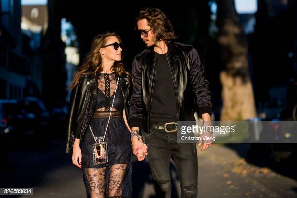 Couple look a like Model and fashion blogger Alexandra Lapp wearing a SelfPortrait lace dress in black Perfecto leather biker Jacket from Schott NYC...
