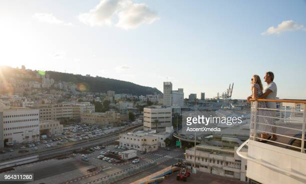 Couple look out at Haifa from cruise ship view point