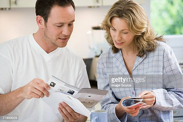 Couple looking at brochures