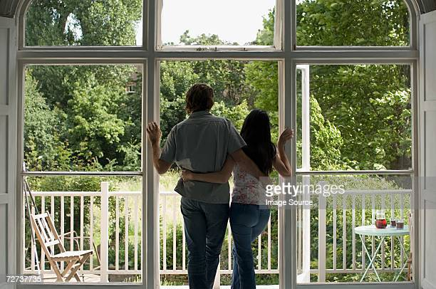 Couple looking at garden