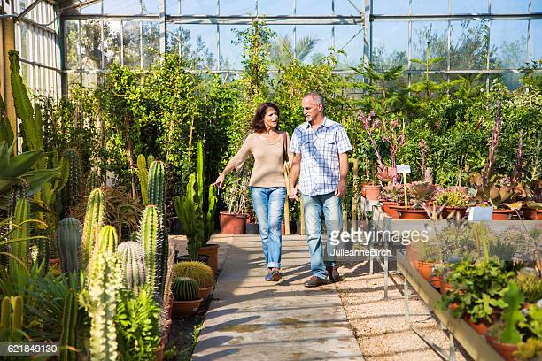 Couple looking at plants in garden center