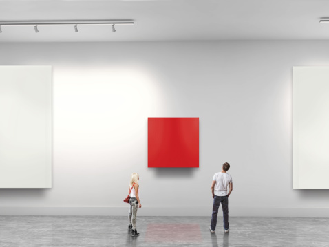 Couple looking at red blank art in gallery - gettyimageskorea
