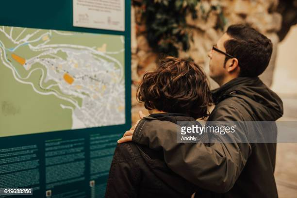 Couple looking at the map of the city