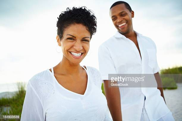 Couple looking happy together