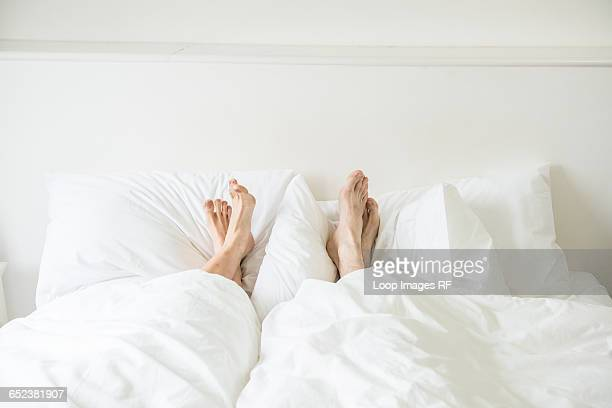 a couple lying in a bed with their feet sticking out from underneath the covers - duvet stock pictures, royalty-free photos & images