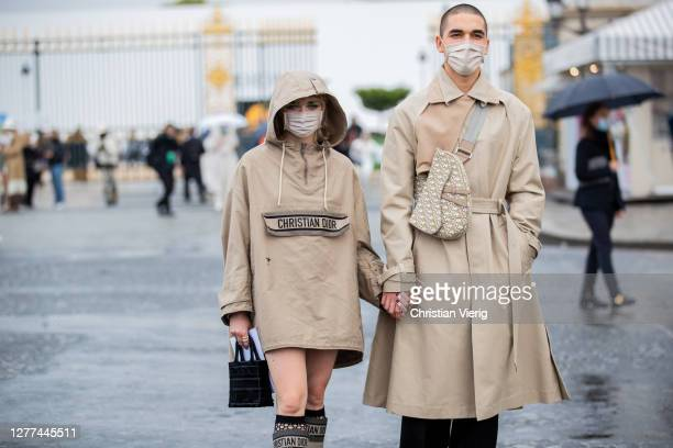 Couple Maisie Williams and Reuben Selby seen outside Dior during Paris Fashion Week - Womenswear Spring Summer 2021 : Day Two on September 29, 2020...