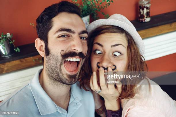 Couple making crazy selfie
