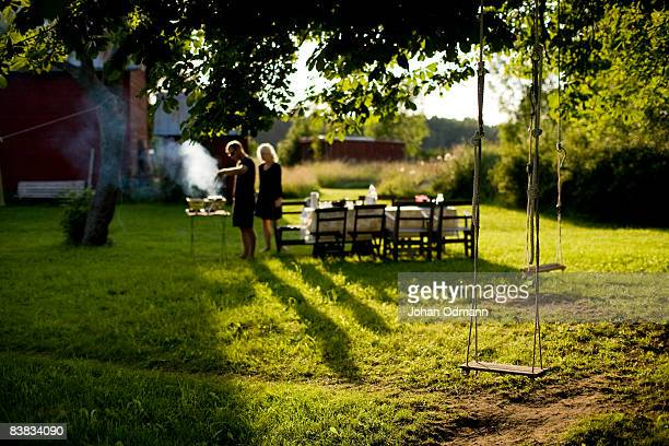 A couple making dinner Gotland Sweden.