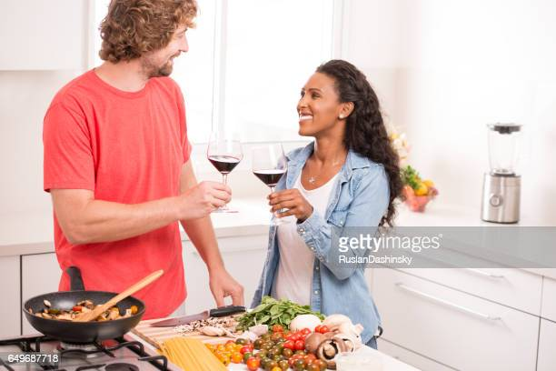 couple making romantic dinner. - savoury food stock photos and pictures