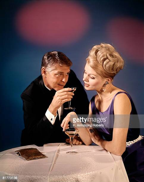 Couple Man Woman At Table Drink Champagne Wine Date Romance.