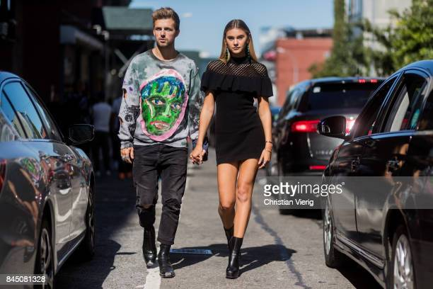 Couple Marcus Butler and Stefanie Giesinger seen in the streets of Manhattan outside SelfPortrait during New York Fashion Week on September 9 2017 in...