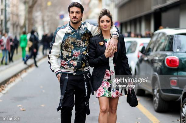 Couple Mariano Di Vaio and Eleonora Brunacci is seen outside Dolce Gabbana during Milan Fashion Week Fall/Winter 2018/19 on February 25 2018 in Milan...