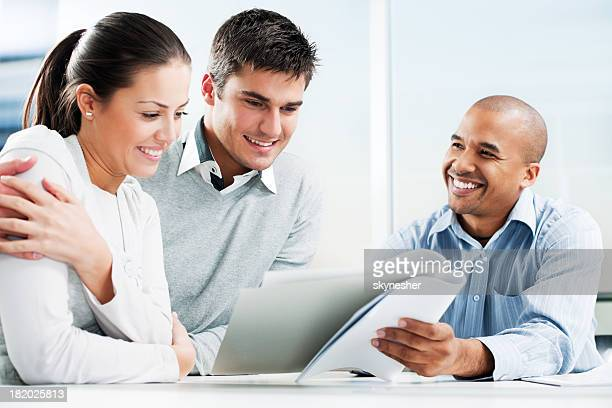 couple meeting with financial advisor - truth be told stock photos and pictures
