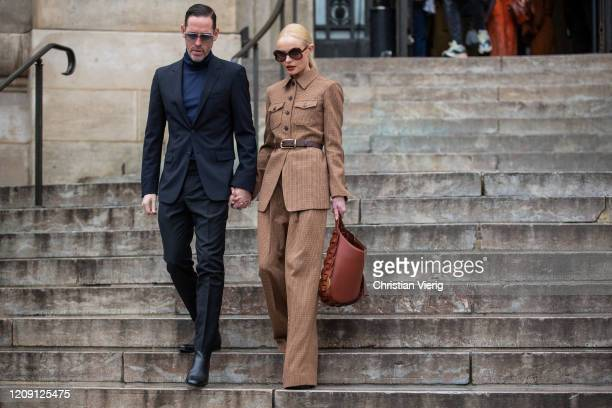 Couple Michael Polish and actress Kate Bosworth wearing brown coat is seen outside Chloe during Paris Fashion Week Womenswear Fall/Winter 2020/2021 :...
