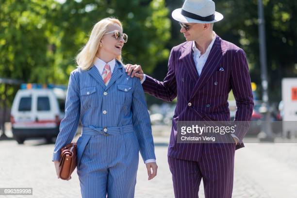 Couple Monika Kaminska wearing bespoke tailoring by Monika Kaminska sirensuit chalkstripe pattern fabric Huddersfield Fine Worsteds wool linen shirt...