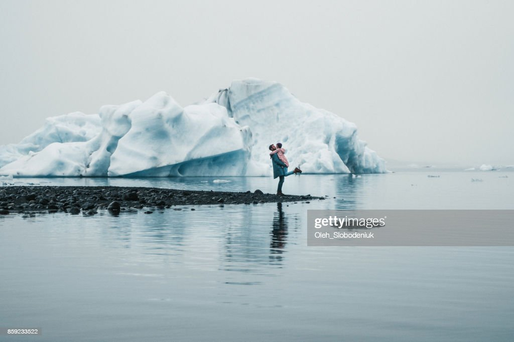 Couple   near Jokulsarlon lagoon : Stock Photo