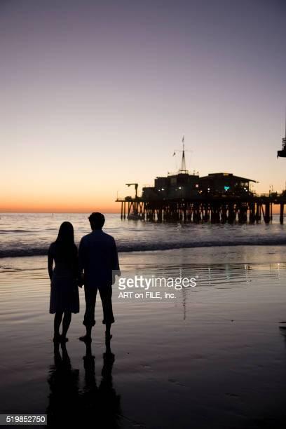 Couple Near Santa Monica Pier at Sunset