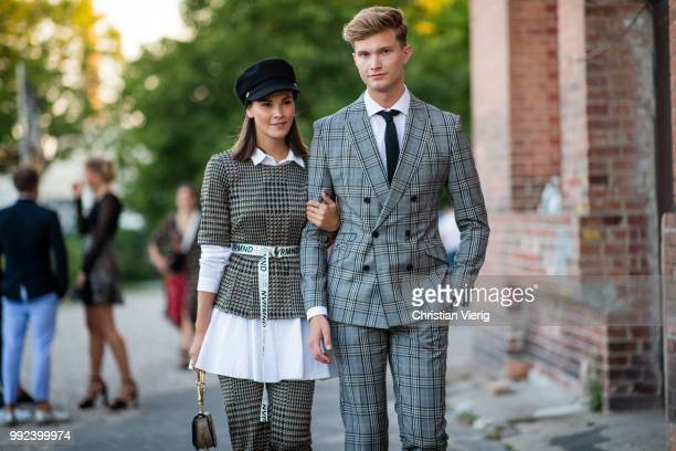 Couple Nina Schwichtenberg and Patrick Kahlo seen outside Hugo during the Berlin Fashion Week July 2018 on July 5 2018 in Berlin Germany