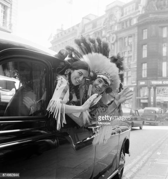 Couple of actors dressed as an Indian Chief and his Squaw pictured leaving New Zealand House after press conference 23rd September 1965 They are part...