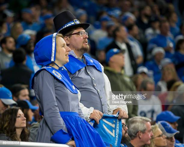 A couple of fans dressed up as pilgrims for Thanksgiving during an NFL game between the Detroit Lions and the Minnesota Vikings at Ford Field on...