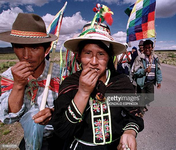 A couple of farmers chew coca leaves 16 April 2001 on the road linking La Paz to Cochabamba Bolivia while they walk to the capital to ask that the...