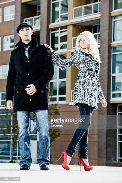 couple of fashion models outdoos - alina stock pictures, royalty-free photos & images